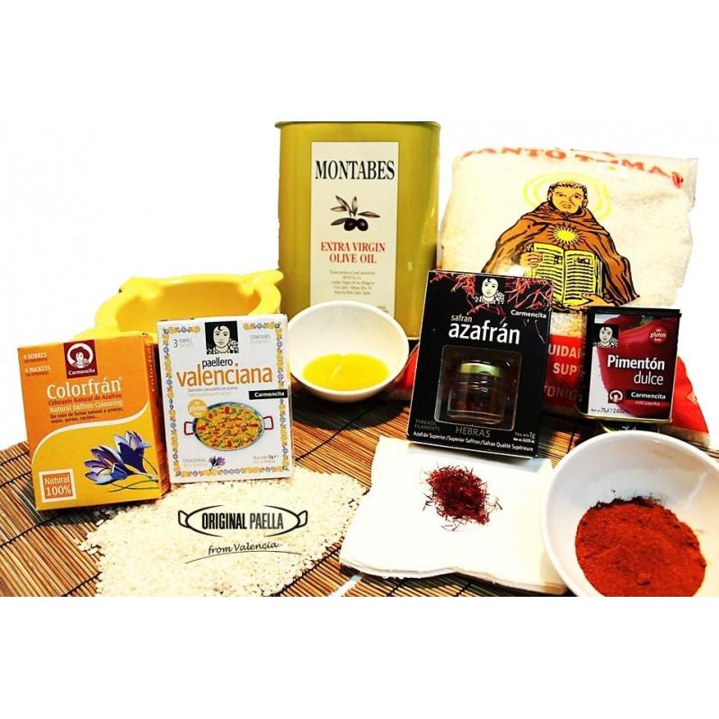 large paella ingredients set original paella set from spain. Black Bedroom Furniture Sets. Home Design Ideas