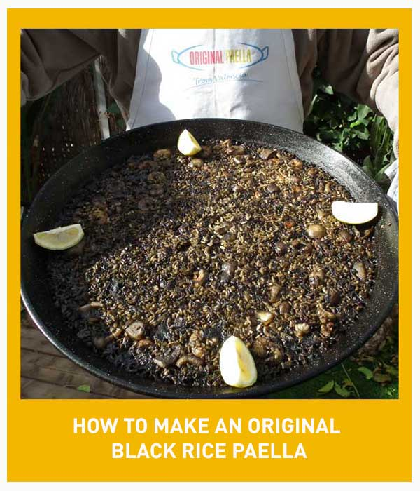 Original black rice Paella Recipe from Valencia step by step with photos, video and pdf download file from Valencia Spain