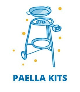 The best paella packs from Valencia Spain, paella pan, paella gas burner, support legs and paella spoon